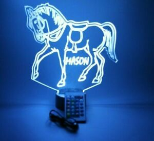 Horse Lover Night Light Up Lamp Personalized Free Name Colt Pony LED and Remote