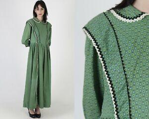 Vtg 70s Pilgrim Folk Dress Country Prairie Calico Floral RicRac Homespun Maxi