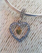 DIAMANTE LOVE HEART CHARM with SMALL HEART Silver European Charm Bracelet
