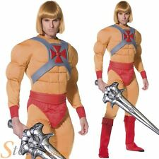 Mens He-Man Costume Prince Adam Masters Universe Fancy Dress 80s Outfit