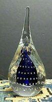 Adam Jablonski Art Glass Controlled Bubble Blue Teardrop Paperweight Cobalt MCM
