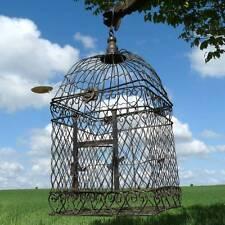 style ancienne grande cage a oiseaux de decoration fer 42cm carrée a suspendre