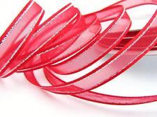 "25 yards Organza Sheer 3/8"" Ribbon/Silver Trim/Craft/Gift/Christmas R56-38-Red"