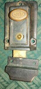 Vintage Antique Fraim Deadbolt Lock Night Lock Inside Brass Complete & Works