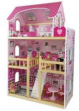 "Butternut Childrens Girls Pink large 3 Storey Wooden Dolls House fits 4"" Barbie"