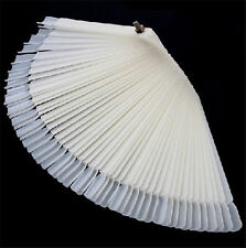 White 50 False Nail Art Tips Display Practice Fan Board Fake Varnish Polish