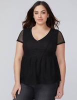 Lane Bryant Shirred Peplum Lace V-Neck Top Short Sleeves Blouse Plus 18 20 22 24