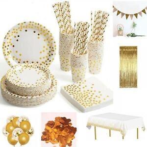 White&Gold TABLEWARE SET DINNERWARE PARTY DECORATIONS BIRTHDAY WEDDING HEN PARTY