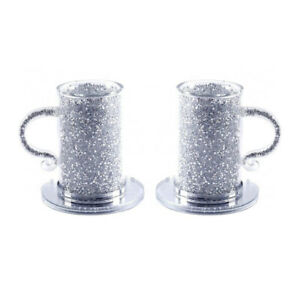 Glass Mug Silver Crushed Diamond Crystal Filled Coffee Tea Cup Saucer Set of 2