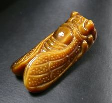 CHINESE Tiger Eye JADE PENDANT *Feng Shiu* Gold Cicada 255706 US