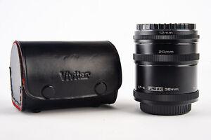 Vivitar AT-4 Canon FL FD Automatic Extension Tube Set 36mm 20mm 12mm MINT V19