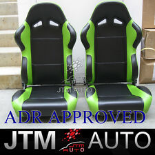 BN JTM PAIR BLACK AND GREEN RACING SPORT SEATS ADR APPROVAL 03/02