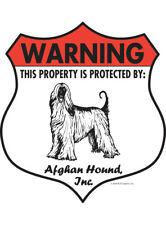 "Warning! Afghan Hound - Property Protected Aluminum Dog Sign - 7"" x 8"" (Badge)"