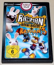 2 PC juegos set-Rayman Raving Rabbids & Rayman 3 Hoodlum Havoc-DVD funda