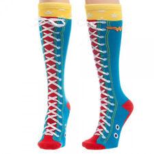 DC Comics Wonder Woman Faux Lace Up Knee High Derby Socks, NEW UNWORN