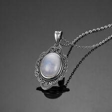 Vintage 925 Silver Oval Natural Rainbow Moonstone&Lapis Lazuli Pendant Necklace!