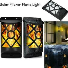 66LED Solar Powered Flickering Flame Wall Lamp Outdoor Garden Path Light