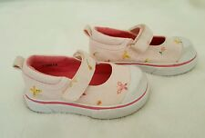 BABY GAP Girls Pink White Mary Jane Butterfly Canvas Sneakers Shoes 5 Toddler