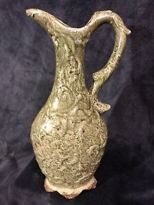 "Antique Green Textured Crackle Glaze Majolica Pottery Pitcher Ewer 15""x7"""