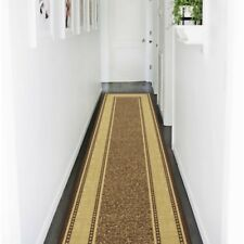 Brown 2 x 7 ft. Runner Area Rug Floral Bordered Pattern Hallway Carpet Synthetic