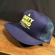 Vintage Trucker Hat A Dirty Mind is a Terrible Thing to Waste Mesh Snapback