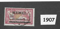 #1907  2 Mark Used stamp 1922  Memel / Lithuania / Prussia / Third Reich Germany