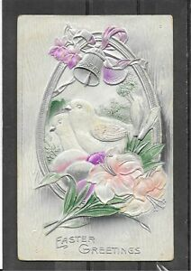 "Antique1911 Embossed Divided Back Postcard of ""Easter Greetings"" Flowers, Birds"