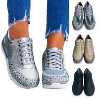 Damen Sneaker Schuhe Sportschuhe Turnschuhe Laufschuhe Schnürschuhe Dicker Boden