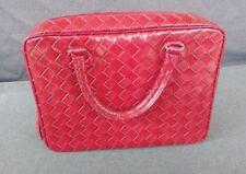 "Estee Lauder Red/Maroon Faux Leather Snake Skin Make Up Case/Bag 16"" x 10"""