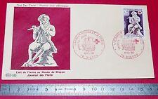 ENVELOPPE 1er JOUR PHILATELIE 1967 CROIX ROUGE ET POSTE ART IVOIRES MUSEE DIEPPE