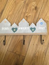 Brand New Shabby Chic Home Sweet Home Wooden / Metal Coat Hooks