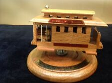 Vtg San Francisco Revolving Solid Oak & Brass Cable Car Music Box