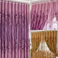 Modern European Peony Pattern Voile Curtains Tulle Sheer Valance Home Decoration