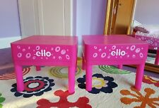 Pair of Girls Ello Solid Plastic Square Shaped Pink Bed Side Storage Side Tables