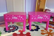 Paire De Filles Ello plastique solide en forme de carré Lit Rose Côté Stockage side tables