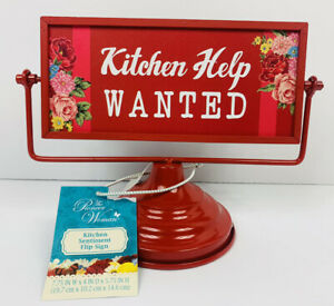 "New Pioneer Woman ""Dinners Ready!"" ""Kitchen Help WANTED"" Red Sentiment Flip Sign"