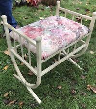 Vintage White Metal Bench Vanity Seat