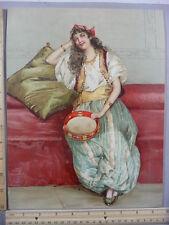 Rare Antique Orig VTG 1892 Gypsy Girl Tambourine M. Duboy Color Litho Art Print