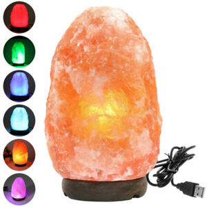 USB Colour Changing Himalayan Pink Salt Lamp Rock Light Lamps Multicolour