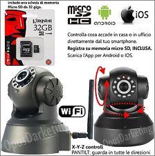 TELECAMERA DI SORVEGLIANZA WIFI VIDEO IP CAMERA INTERNET + MEMORIA MICRO SD 64GB