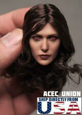 1/6 Elizabeth Olsen Scarlet Witch RED EYE Head Sculpt For Hot Toys Phicen U.S.A.