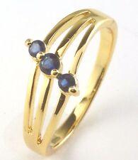 Para mujer chapado en oro anillo de cristal azul tamaño de Reino Unido J