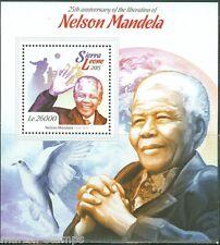 SIERRA LEONE 2015 25th ANN OF NELSON MANDELA'S LIBERATION S/S MINT NH