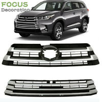 Front Upper Lower Grill Grille 2pc Silver for 2017 2018 2019 Toyota Highlander