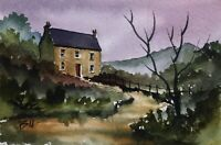 Original (6x4 inch) Painting by Bill Lupton  - Lane End Cottage