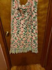 Vintage Crochet Afghan Blanket Throw with Fringe Handmade Pink Green 60 X 40