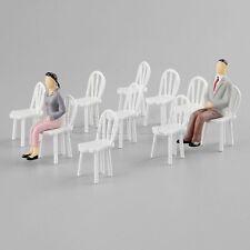 10Pcs White Dinning Chair Model 1:25 Scale Mini Dollhouse Furniture Decor