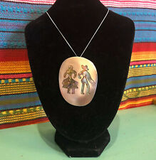 Vintage Sterling Silver Mexico Woman Man Couple Abalone Huge Pendant Brooch