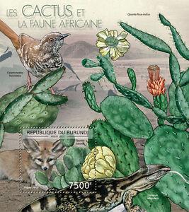 Cactus & African Wildlife Fennec fox Warbler Burundi s/s Sc.1237 MNH BUR12614b