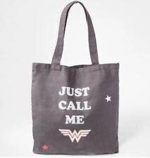 Junk Food Wonder Woman Just Call Me Tote Bag Gray - 14 x 14